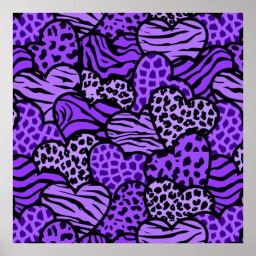 Purple and black girly animal print hearts