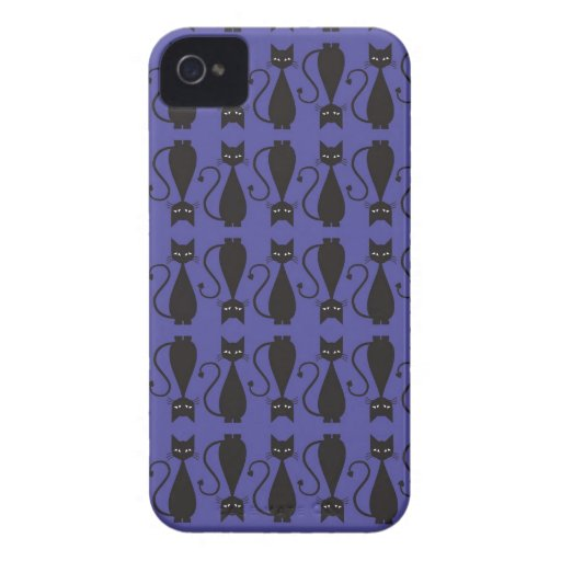 Purple and Black Goth Cat Pattern iPhone 4 Cases