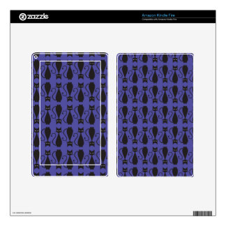 Purple and Black Goth Cat Pattern Decals For Kindle Fire