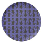 Purple and Black Goth Cat Pattern Dinner Plate