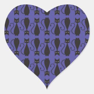 Purple and Black Goth Cat Pattern Heart Sticker