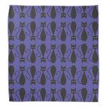 Purple and Black Goth Cat Pattern Kerchief