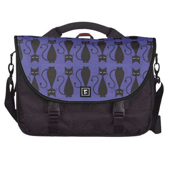 Purple and Black Goth Cat Pattern Laptop Commuter Bag