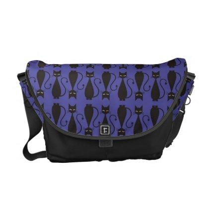 Purple and Black Goth Cat Pattern Messenger Bag