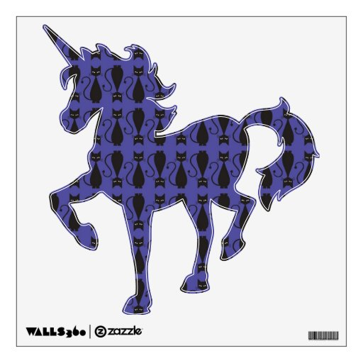 Purple and Black Goth Cat Pattern Wall Decal