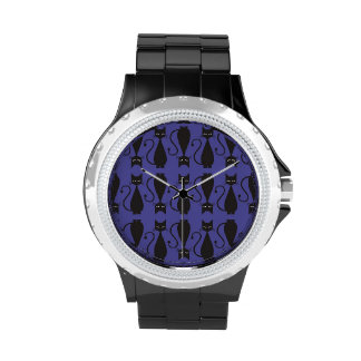 Purple and Black Goth Cat Pattern Wristwatches