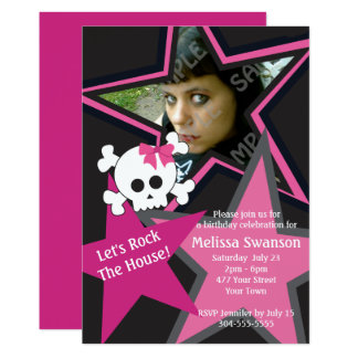 Purple and Black Gothic Rock Star Birthday Card