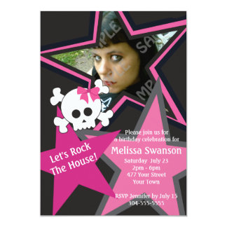 Purple and Black Gothic Rock Star Birthday 5x7 Paper Invitation Card