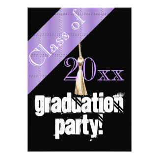 Purple and Black graduation party Personalised Invitations
