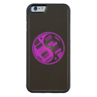 Purple and Black Guitar and Bass Yin Yang Carved Maple iPhone 6 Bumper Case