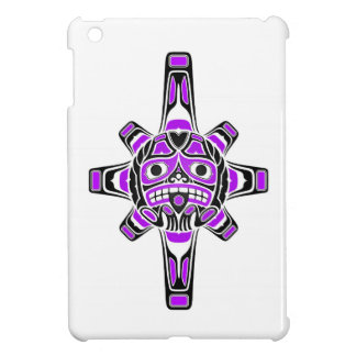 Purple and Black Haida Sun Mask on White iPad Mini Case
