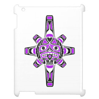 Purple and Black Haida Sun Mask on White Case For The iPad