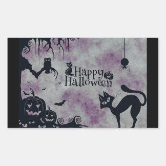 Purple and Black Happy Halloween Stickers