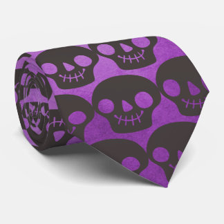 Purple and Black Happy Skulls Tie