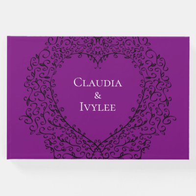Purple and Black Heart Gothic Wedding Guest Book