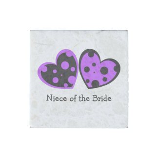 Purple And Black Hearts Stone Magnet