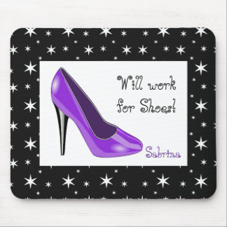 Purple and Black High Heel Mouse Pad
