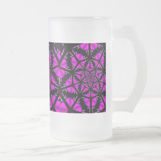 Purple and Black Hippie Pattern Frosted Glass Beer Mug