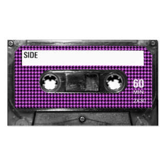 Purple and Black Houndstooth Label Cassette Double-Sided Standard Business Cards (Pack Of 100)