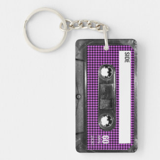 Purple and Black Houndstooth Label Cassette Keychain