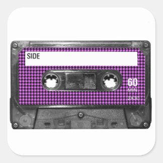 Purple and Black Houndstooth Label Cassette Sticker