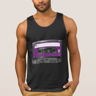 Purple and Black Houndstooth Label Cassette Tee Shirts
