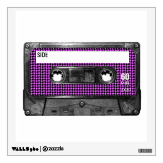 Purple and Black Houndstooth Label Cassette Wall Sticker