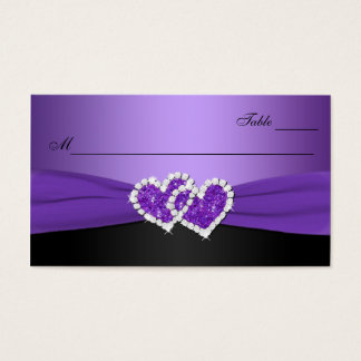 Purple and Black Joined Hearts Place Card