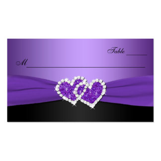 Purple and Black Joined Hearts Place Card Business Card Templates