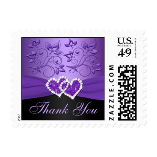 Purple and Black Joined Hearts Thank You Postage