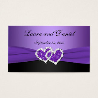 Purple and Black Joined Hearts Wedding Favor Tag