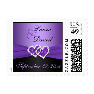 Purple and Black Joined Hearts Wedding Postage
