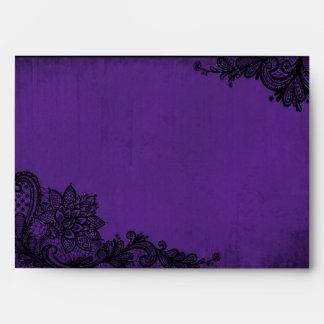 Purple and Black Lace Gothic Wedding Envelopes