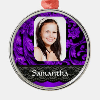 Purple and black lace ornament