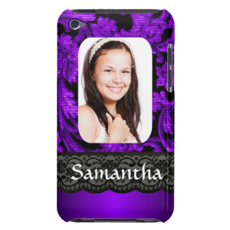 Purple and black lace personalized photo template barely there iPod case