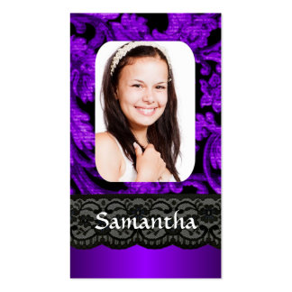 Purple and black lace personalized photo template Double-Sided standard business cards (Pack of 100)
