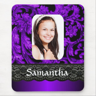Purple and black lace personalized photo template mouse pad