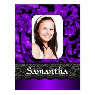 Purple and black lace postcard