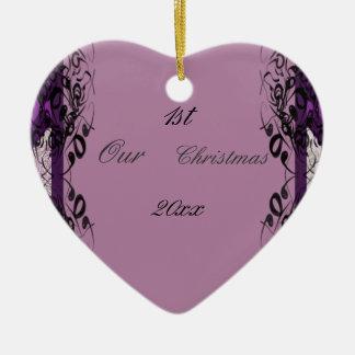Purple and Black Lace Wedding Christmas Tree Ornaments