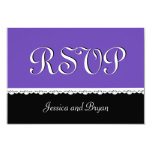 PURPLE and BLACK Lace Wedding RSVP V16 3.5x5 Paper Invitation Card