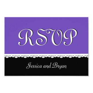 PURPLE and BLACK Lace Wedding RSVP V16 Custom Invitation