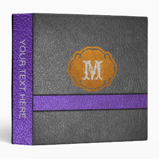 Purple and Black Leather 3 Ring Binder
