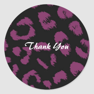 Purple and Black Leopard Pattern Thank You Classic Round Sticker
