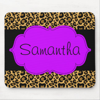 Purple and Black Leopard Personalized Mouse Pad