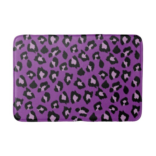 Purple And Black Leopard Print Bath Mat Zazzle Com