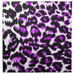 Purple And Black Leopard Print Cloth Napkin