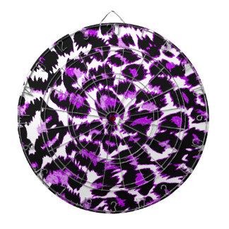 Purple and Black Leopard Print Dartboard