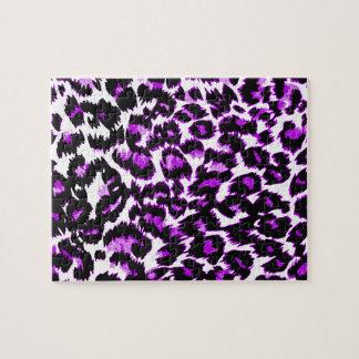 Purple and Black Leopard Print Jigsaw Puzzle