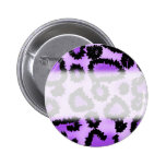 Purple and Black Leopard Print Pattern. Pinback Buttons