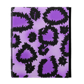 Purple and Black Leopard Print Pattern. iPad Folio Cases